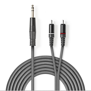 AUDIOKABEL 6,3mm STEREO 2x RCA  1,5 m