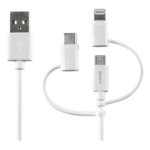 USB ADAPTER KABEL USB C/MICRO B/LIGHTNING 1,0 m
